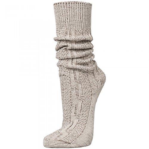 PAULGOS Trachtensocken Trachtenstrümpfe Socken Kniestrümpfe mit Zopfmuster in 3 Farben Gr. 39-47, Schuhgröße:44, Farbe:Beige
