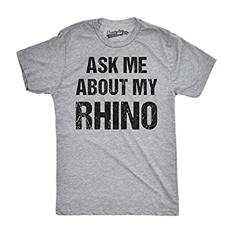 Crazy Dog TShirts - Mens Ask Me About My Rhino Funny Wildlife Safari Zoo Flip Up T shirt (Grey) L - Homme