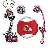 Hundespielzeug Unzerstörbar Iglatt Hunde Kauspielzeug Set Geflochten Seil Frisbee Spielzeug Set Interaktives Baumwollknoten Spielset Robust für Kleine und Mittlere Hunde Welpen