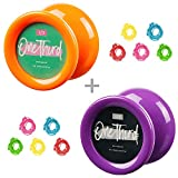 MAGICYOYO Affordable 2 Set Responsive yoyo D2 ONE THIRD , Great Gift For Kids , Looping Yoyo Ball Bearing yoyos , Premium Plastic Yoyo, Super Durable with Color Purple and Orange + 10 Strings