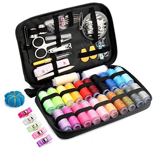Qisiewell Kit De Costura Portátil Costurero 22 Vivid Rainbow-Colored Carrete De Hilos 108 Accesorios De Costura Premium para Uso Doméstico Adultos Niños