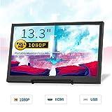 TOGUARD 13,3pollici IPS Gaming Monitor Piccolo schermo portatile HD 1920x1080 con doppio mini altoparlanti integrati HDMI, supporto alimentatore bidirezionale per computer PS3,4/Xbox/RaspberryPi/WiiU