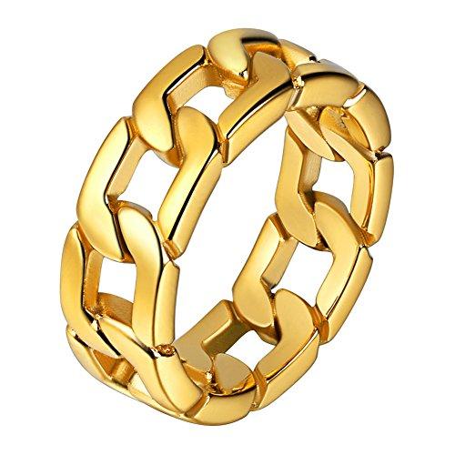 U7 Herren Ringe Panzerkette Design 18k vergoldet Ring Massiv Biker Hochglanzpoliert Bandring Hip Hop Ringe für Männer(62)