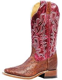 Botas de los EE.UU.-Botas exóticas (avestruz) BO-3520-65-C (pie normal), diseño de mujer, color rosa y marrón