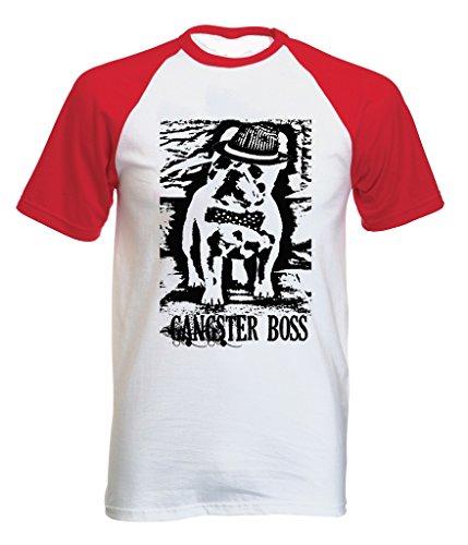 Teesquare1st Men's FRENCH BULLDOG GANGSTER BOSS PB 38 Red Short Sleeved T-Shirt Size XLarge