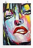 Eau Zone Bilder - Farbenfrohes Porträt einer Frau mit grünen Augen- Leinwand Kunstdrucke Wandbilder aus Deutschland