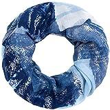 Faera Damen Schal weich und leicht mit Gold- oder Silber-Druck Loopschal Rundschal in verschiedenen Farben, SCHAL Farbe:Blau