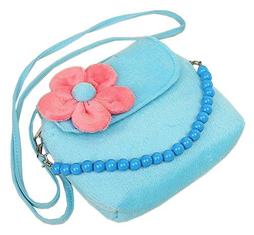 LAAT Lovely Geldbörse Tasche Kinder Schulter Sack Samt Geldbörse Geld Tasche Crossbody Paket Sonnenblume Perle Kette Dekoration für Mädchen Blau