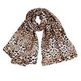 Lenfesh Fular Mujeres Bufanda seda Suave Otoño Bufandas leopardo Mujer Pañuelo Mantas Vintage