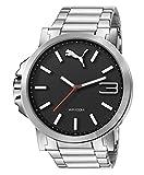 Puma Ultrasize Metal - Reloj análogico de cuarzo con correa de acero inoxidable para hombre, color plata/negro