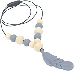 SUPVOX Feather Pendant Baby Teether Silicone Soother Chew Toy Teething Necklace(Grey)