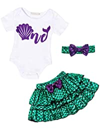 AmzBarle Vestido Disfraz de Sirena Traje para Niña, Disfraz Infantil de Princesa Brillante Larga Manga con Cola de…