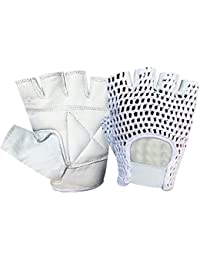 NET LEATHER FINGERLESS GLOVE GYM TRAINING BUS DRIVING CYCLING GLOVES WHITE LEATHER-WHITE MESH CN-404 MEDIUM