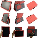 Coodio® Asus Transformer TF701T/Asus MeMo Pad FHD 10 ME302C/Asus MeMo Pad ME301T 360 Rotating Stand Leather Cover Built-in Hand Grip Card Holder - Colour Red