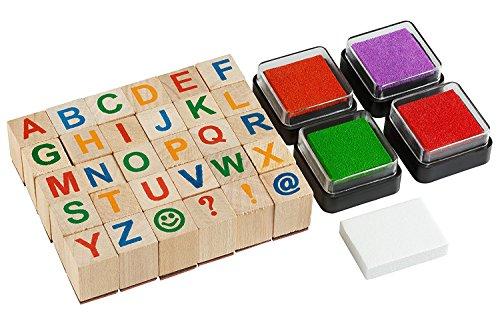 Moore-Premium-Holz-Alphabet-Stempel-Set-34-Stck-Set-Grobuchstaben-Briefmarken-mit-4-Farbe-Stempelkissen