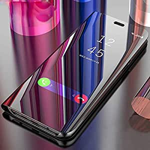BIGZOOK Clear View Electroplate Mirror Protective Leather Flip Cover for One Plus 6T, 2018 Launch (Black)