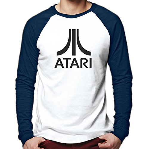 Atari Retro Gaming Baseball T Shirt Long Sleeve Tee (M, Navy White)