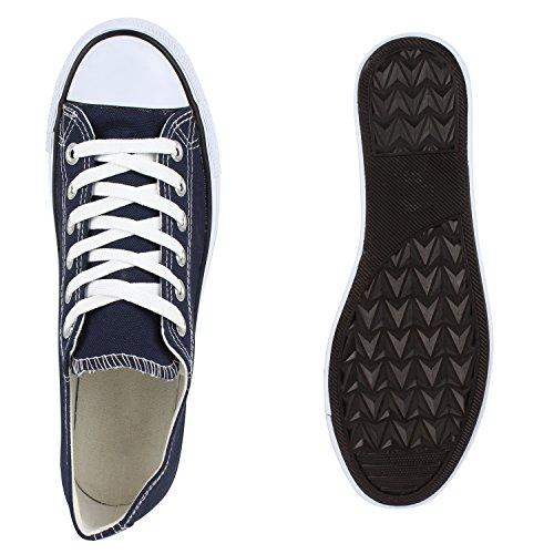 Herren Sneakers Low Basic Turnschuhe Bequeme Freizeit Schuhe Marine Blau