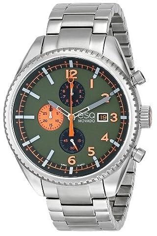 Esq Homme 44mm Chronographe Argent Acier Bracelet & Boitier Date Montre 7301447