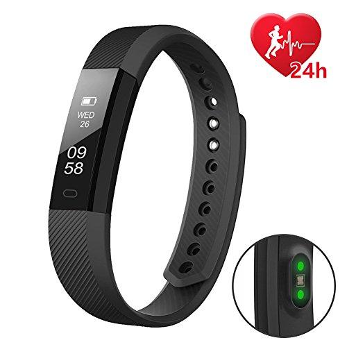 letscom fitness tracker hr, fitness tracker orologio con cardiofrequenzimetro, slim touch screen e polsini, indossabile impermeabile activity tracker contapassi per android e ios, black