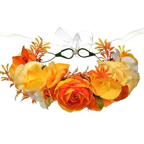 ea1a6fd9041198 Vikenner Damen Mädchen Garland Haarreif mit Blumen Stirnband Kopfband Haar  Schmuck für Hochzeit Braut Brautjungfer Festival