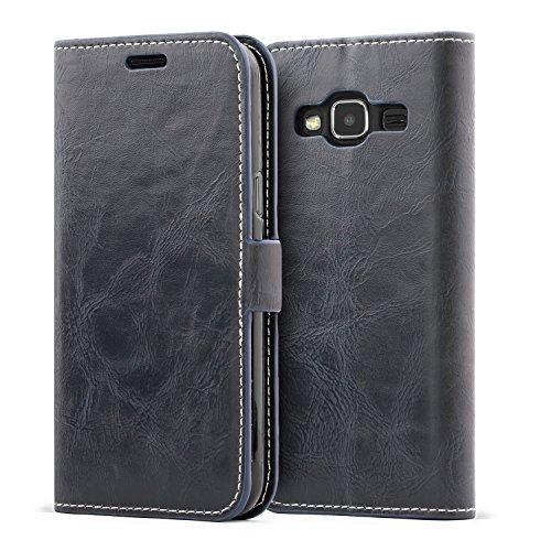 Mulbess Schutzhülle Ledertasche im Kartenfach Bookstyle für Samsung Galaxy J3 Duos 2016 (5 Zoll) Tasche Hülle Leder Etui Schale,Dunkelblau