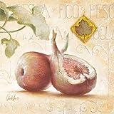 Leinwand-Bild - Claudia Ancilotti: Fico 20 x 20 cm Stillleben mit Obst Feigen Blätter Früchte Landhaus Küchenbild