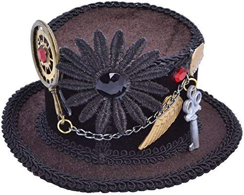 Fancy Me Damen Steampunk Viktorianisch Verrückter Hutmacher Mini Hut Party Kostüm Outfit Accessoire
