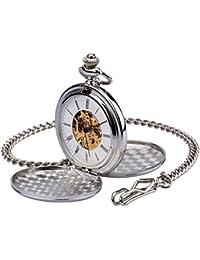 Reloj Gusset Pocket zeiger Steampunk Esqueleto Mecánico cobre estilo Gusset retro colgante reloj de bolsillo w351