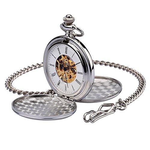 Montre Gousset Poche zeiger Steampunk Squelette Mécanique cuivre Gousset style rétro pendentif montre de poche w351