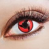 aricona Farblinsen  N°627- Farbige 12-Monats Kontaktlinsen Paar ohne Stärke, weich und angenehm zu tragen, Wassergehalt: 42%, Sharingan Mangekyou
