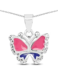 Johareez Plain .925 Sterling Silver Dark Pink & Blue Enamel Butterfly Shape Kids Pendant With Chain