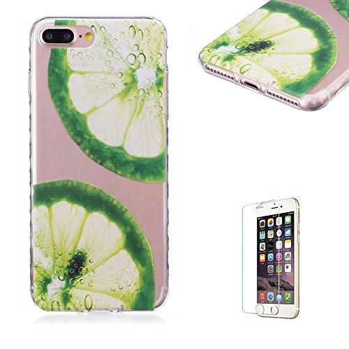 Für iPhone 7 Plus 5.5 Zoll [Scratch-Resistant] Weichem Handytasche Weich Flexibel Silikon Hülle,Für iPhone 7 Plus 5.5 Zoll TPU Hülle Back Cover Schutzhülle Silikon Crystal Kirstall Durchschauen Clear  Zitrone Scheibe