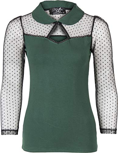 Küstenluder Damen Oberteil Thela Polka Dot Spitze Shirt (S, Dunkelgrün/Schwarz) -