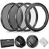 Neewer Kit Accessoires d'Objectif pour Canon PowerShot SX530 HS/SX520 HS/SX60 HS/SX50 HS/SX40: Anneau Adaptateur, Filtres 67mm (UV/CPL/ND4), Para-Soleil en Caoutchouc, Bouchon, Sac