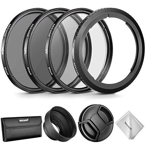 Neewer Objektivzubehör Set für Canon PowerShot SX520 HS SX60 HS, Filteradapterring + 67mm Filtersatz (UV/CPL / ND4) + Gummi-Sonnenblende + Objektivdeckel + Filterbeutel