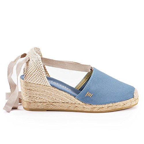 """VISCATA Escala 2.5"""" Heel, Soft Ankle-Tie, Closed Toe, Classic Espadrilles Heel Made in Spain Jeans"""