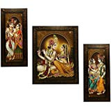 Indianara 3 PC Set of Radha Krishna Art Paintings (1137) Without Glass 5.2 X 12.5, 9.5 X 12.5, 5.2 X 12.5 inch