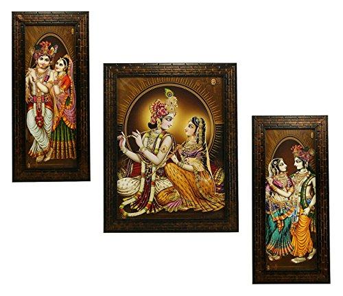 Indianara 3 PC Set of Radha Krishna Art Paintings (1137) Without Glass 5.2 X 12.5, 9.5 X 12.5, 5.2 X 12.5 inch
