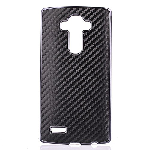 LG G4 Hard Case Carbon Fiber Faser Skin Style Schutz Hülle Back Cover Schwarz