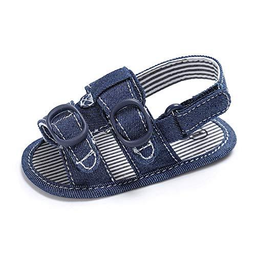QINJLI Baby Sandalen, Sommer 0-1 Jahre Kleinkind Schuhe Segeltuch Klettverschluss atmungsaktiv weichen Boden Slip 11-13cm - Natürliche Segeltuch-schuhe