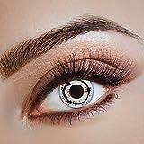 Karneval Klamotten Kontaktlinsen farbig-e Motiv-Linsen Jahreslinsen ohne Stärke Halloween Fasching Horror weiß schwarz rot Stacheldraht Blut