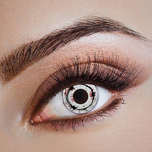 Dauerhafte Augenfarbe (Karneval Klamotten Kontaktlinsen farbig-e Motiv-Linsen Jahreslinsen ohne Stärke Halloween Fasching Horror weiß schwarz rot Stacheldraht Blut)