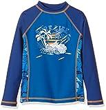 Aquatinto - mit Palmen-Print, UV +50, Camicia Surf bambini e ragazzi, dunkelblau, 146 (Taglia produttore: 146/152)