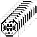 Aufkleber Sticker 5cm Alarm gesichert für Außenseite Balkon Scheibe Fenster Rahmen Rolladen (10)