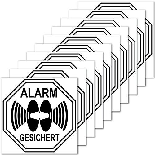 Preisvergleich Produktbild Aufkleber Sticker 5cm Alarm gesichert für Außenseite Balkon Scheibe Fenster Rahmen Rolladen (10)