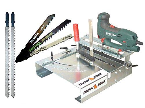 Stichsägetisch Trenn-Biber 012L-2 + T-Schaft Makita Bosch Festool + 2 lange Stichsägeblätter für Stichsägen Sägetisch zum Parkett u. Laminat schneiden