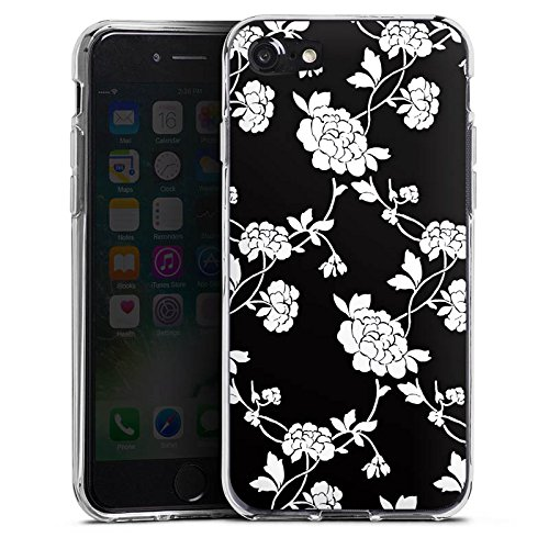 Apple iPhone X Silikon Hülle Case Schutzhülle Blumen Muster Schwarz Silikon Case transparent