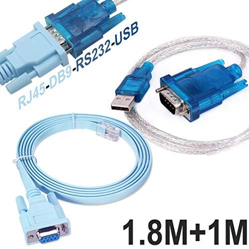Usb-putty (Cisco Konsolen kabel Serielles Kabel Rj45 auf DB9 & RS232 auf USB (2 In 1) Für Cisco Gerät 1M +1.8M)