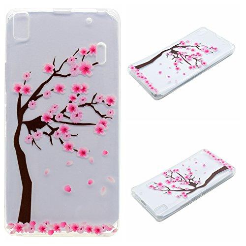 Qiaogle Teléfono Caso - Funda de TPU silicona Carcasa Case Cover para Lenovo K3 Note / K50-t5 4G LTE / A7000 (5.5 Pulgadas) - XX22 / Pink peach